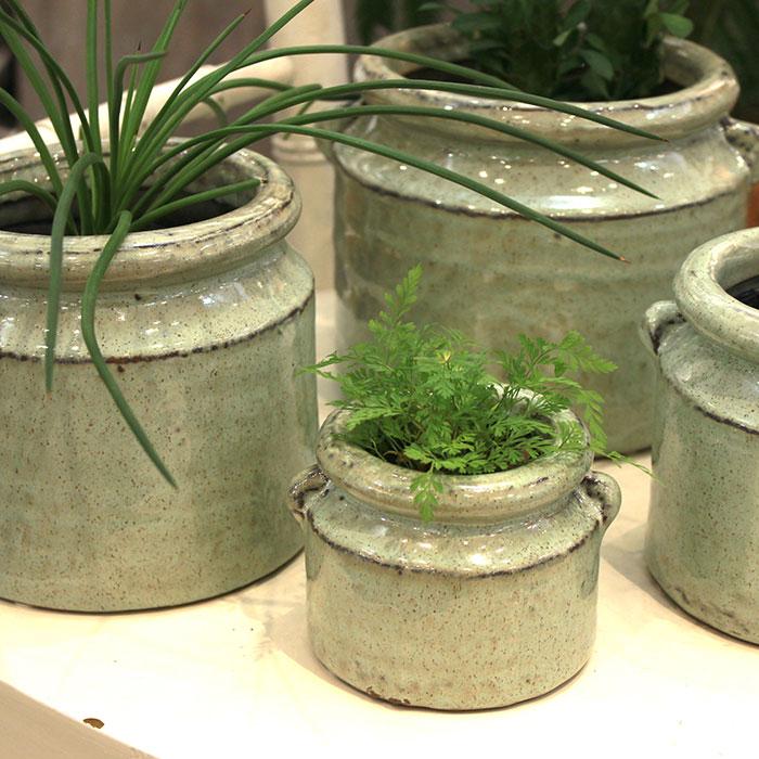 NEV 鉢カバー XSサイズ グリーン 陶器  鉢カバー 観葉植物 アンンティーク15