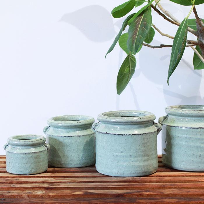 NEV 鉢カバー XSサイズ グリーン 陶器  鉢カバー 観葉植物 アンンティーク04