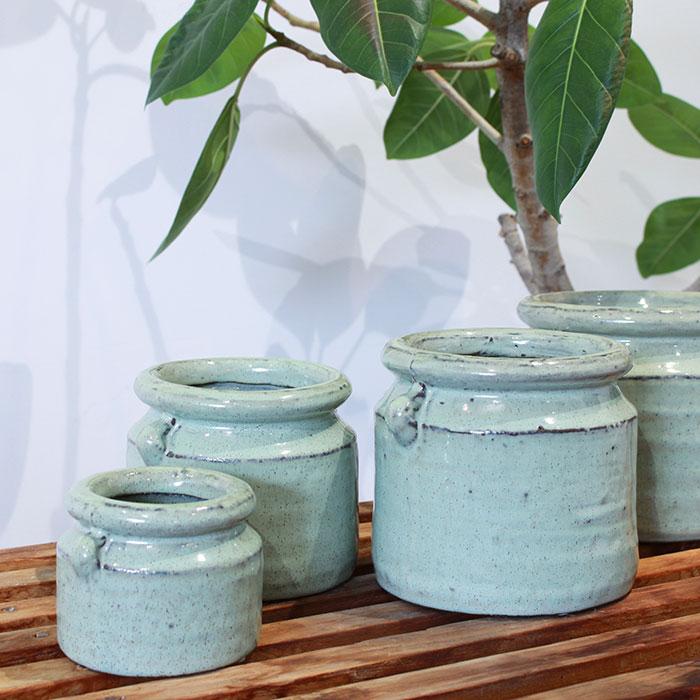 NEV 鉢カバー XSサイズ グリーン 陶器  鉢カバー 観葉植物 アンンティーク05