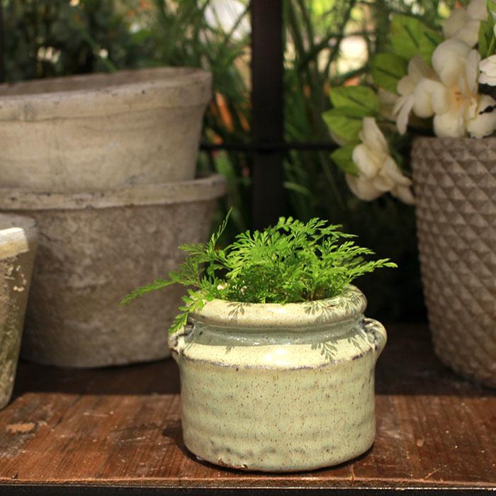 NEV 鉢カバー XSサイズ グリーン 陶器  鉢カバー 観葉植物 アンンティーク08