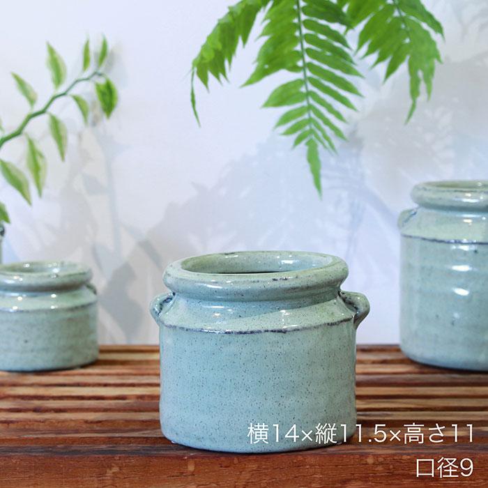 NEV 鉢カバー Sサイズ グリーン 陶器  鉢カバー 観葉植物 アンティーク調