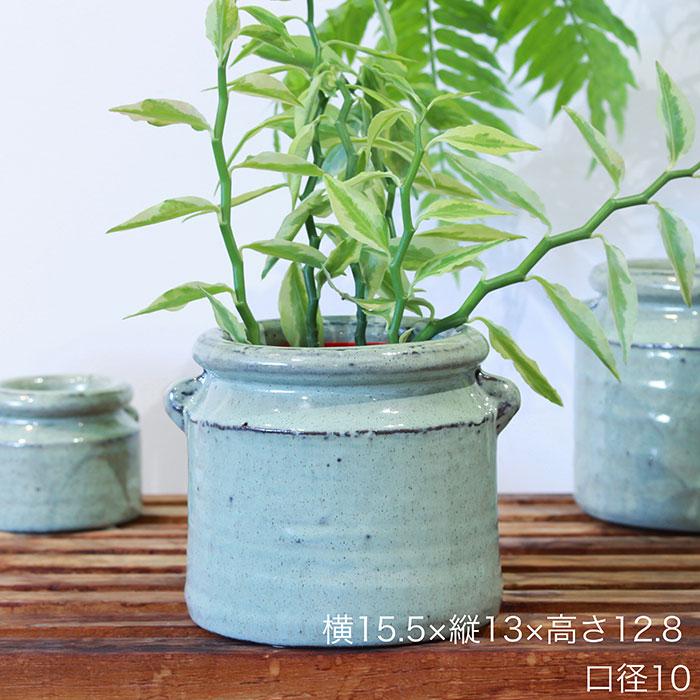 NEV 鉢カバー Mサイズ グリーン 陶器  鉢カバー 観葉植物 アンティーク調