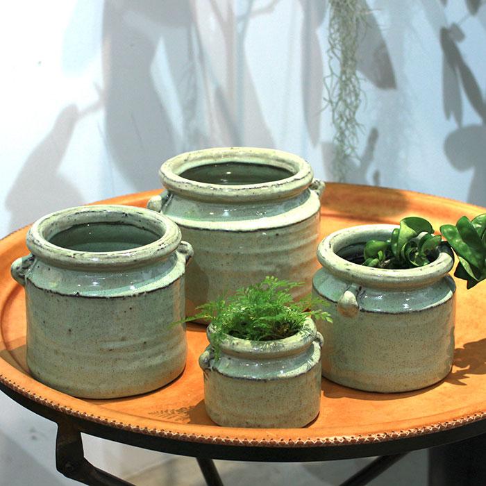 NEV 鉢カバー Mサイズ グリーン 陶器  鉢カバー 観葉植物 アンティーク調10