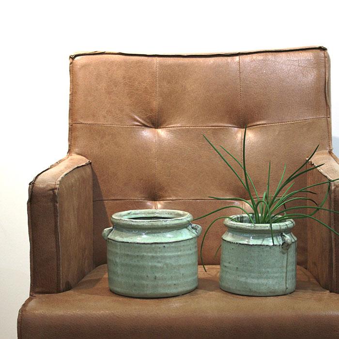 NEV 鉢カバー Mサイズ グリーン 陶器  鉢カバー 観葉植物 アンティーク調12