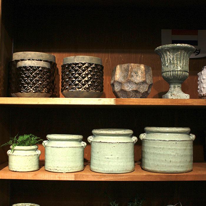 NEV 鉢カバー Mサイズ グリーン 陶器  鉢カバー 観葉植物 アンティーク調07