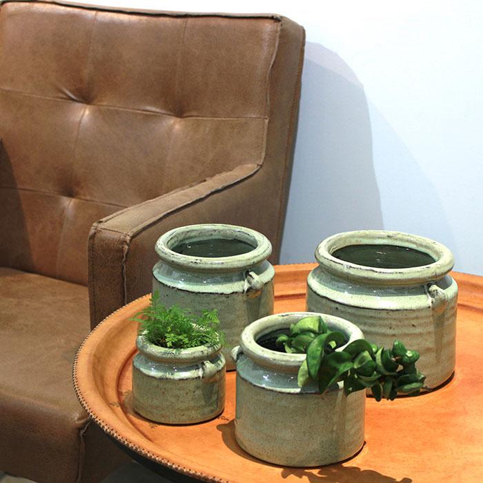 NEV 鉢カバー Mサイズ グリーン 陶器  鉢カバー 観葉植物 アンティーク調09