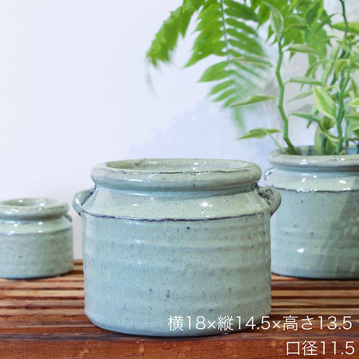 NEV 鉢カバー Lサイズ グリーン 陶器  鉢カバー 観葉植物 アンティーク調