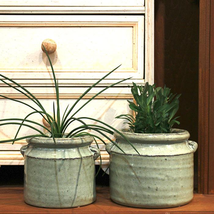 NEV 鉢カバー Lサイズ グリーン 陶器  鉢カバー 観葉植物 アンティーク調14