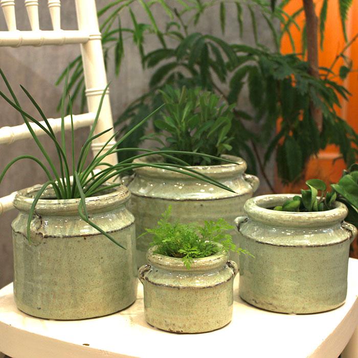 NEV 鉢カバー Lサイズ グリーン 陶器  鉢カバー 観葉植物 アンティーク調15