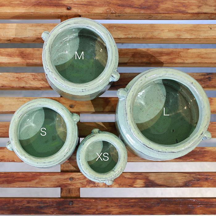NEV 鉢カバー Lサイズ グリーン 陶器  鉢カバー 観葉植物 アンティーク調02