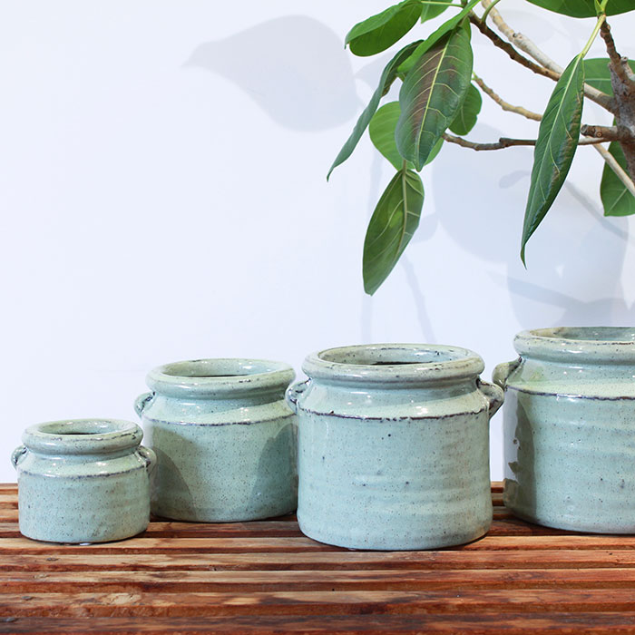 NEV 鉢カバー Lサイズ グリーン 陶器  鉢カバー 観葉植物 アンティーク調04