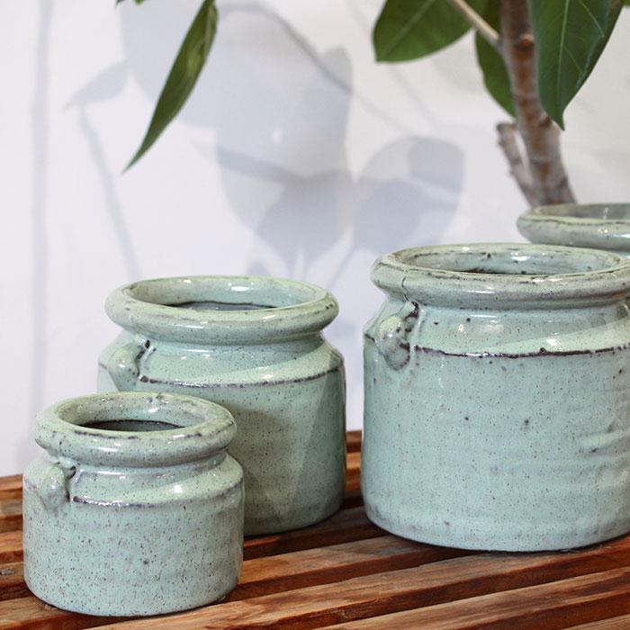 NEV 鉢カバー Lサイズ グリーン 陶器  鉢カバー 観葉植物 アンティーク調06