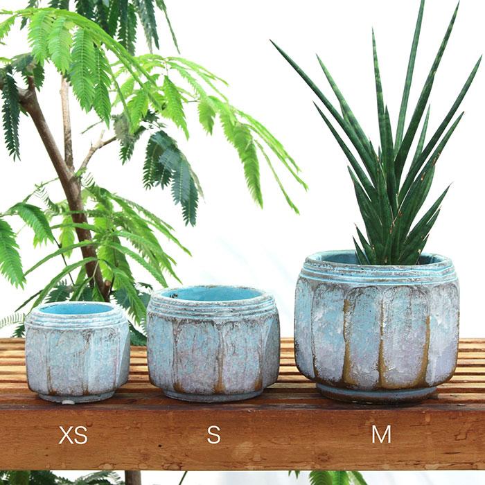 SASHA 鉢カバー XSサイズ ブルー セメント  鉢カバー 観葉植物  01