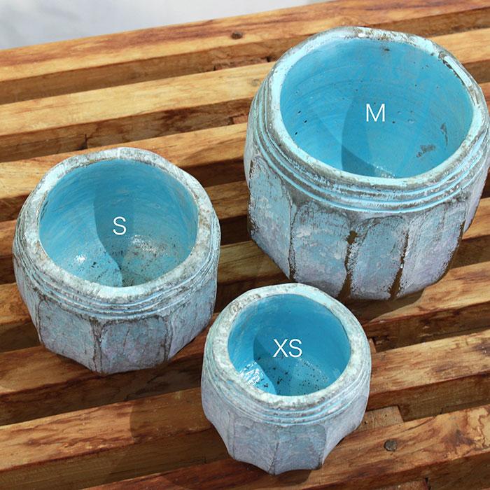 SASHA 鉢カバー XSサイズ ブルー セメント  鉢カバー 観葉植物  02