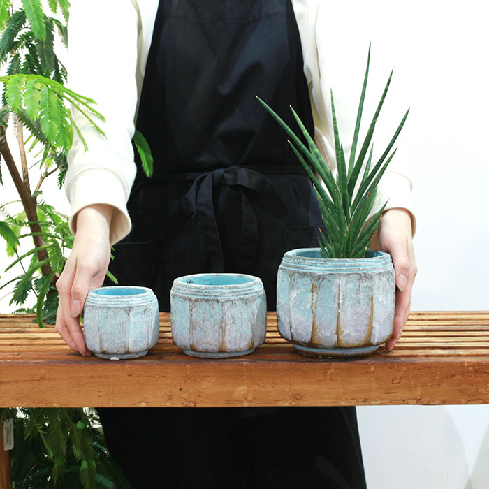 SASHA 鉢カバー XSサイズ ブルー セメント  鉢カバー 観葉植物  03