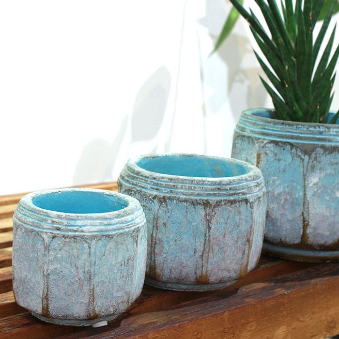 SASHA 鉢カバー XSサイズ ブルー セメント  鉢カバー 観葉植物  04