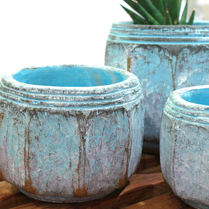 SASHA 鉢カバー XSサイズ ブルー セメント  鉢カバー 観葉植物  05