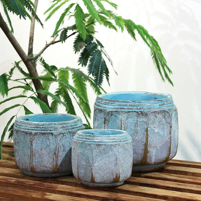 SASHA 鉢カバー XSサイズ ブルー セメント  鉢カバー 観葉植物  06