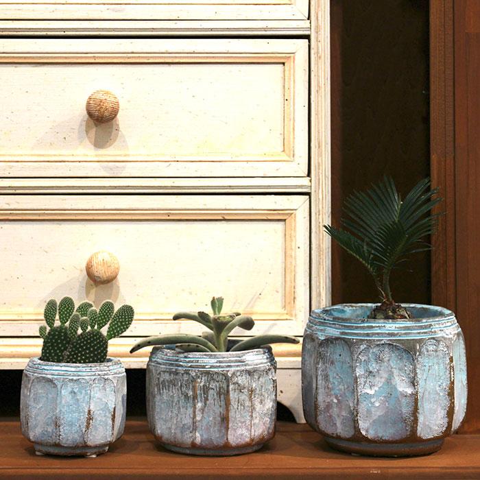 SASHA 鉢カバー XSサイズ ブルー セメント  鉢カバー 観葉植物  07