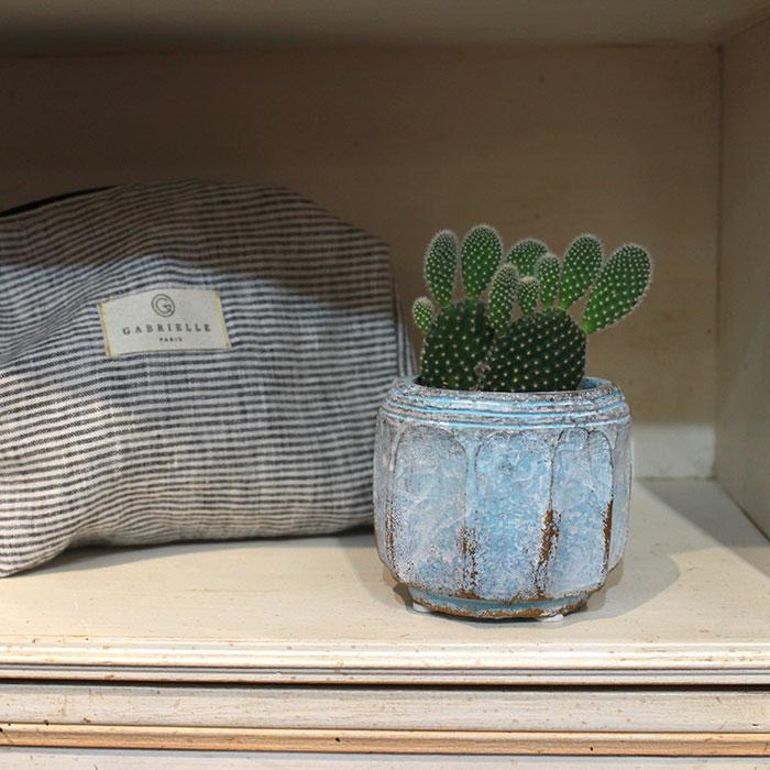 SASHA 鉢カバー XSサイズ ブルー セメント  鉢カバー 観葉植物  08