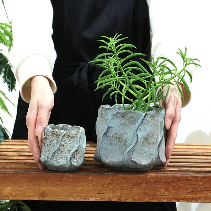 DEC BLUE  鉢カバー Mサイズ  セメント  鉢カバー 観葉植物02