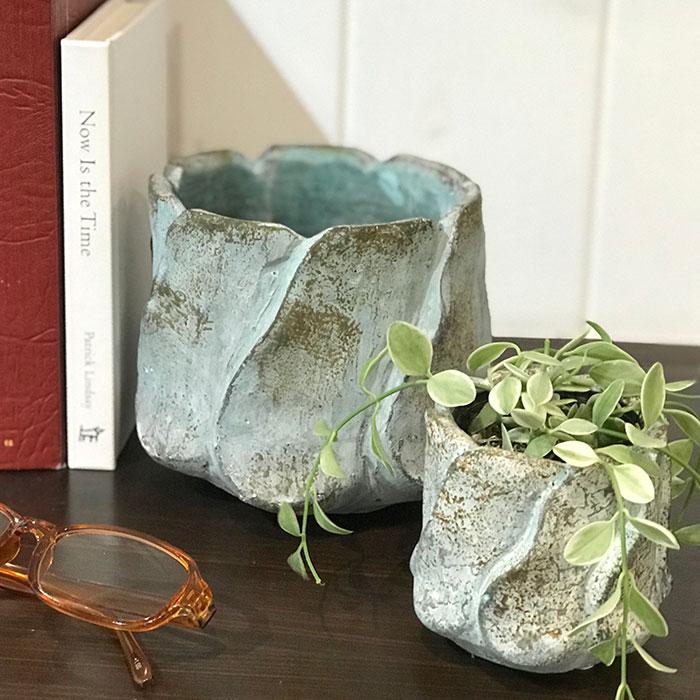DEC BLUE  鉢カバー Mサイズ  セメント  鉢カバー 観葉植物07