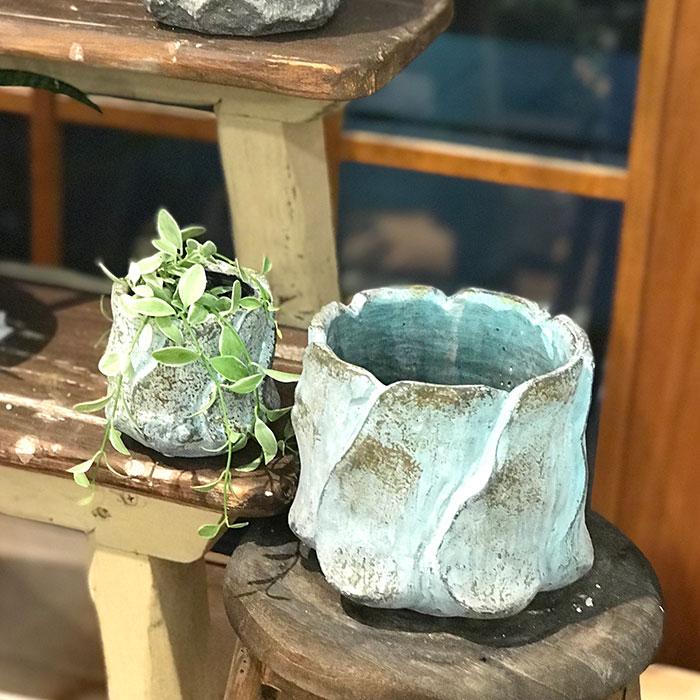 DEC BLUE  鉢カバー Mサイズ  セメント  鉢カバー 観葉植物08