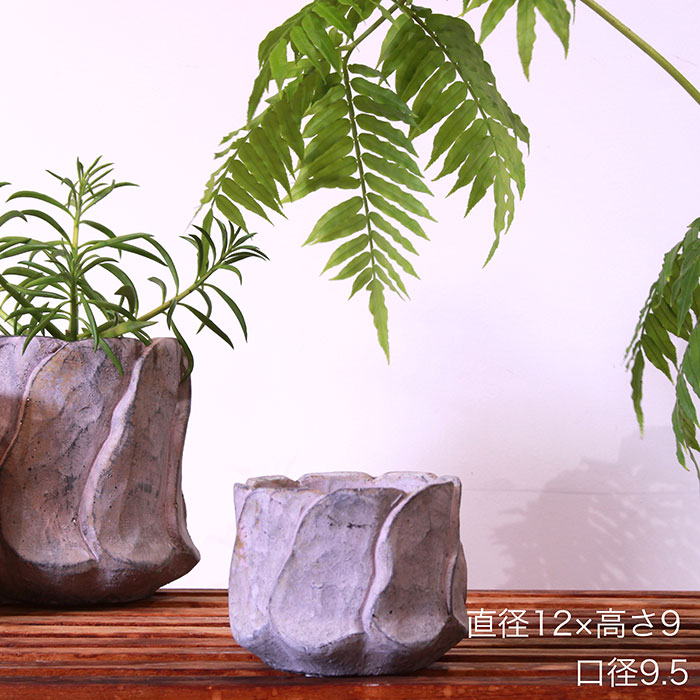 DEC PINK  鉢カバー Sサイズ セメント ラウンド型  鉢カバー 観葉植物
