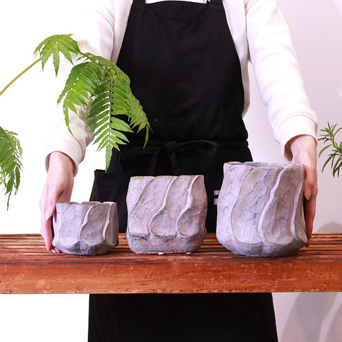 DEC PINK 鉢カバー Sサイズ オーバル型 セメント  鉢カバー 観葉植物03