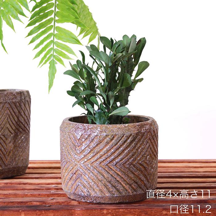 LAW 鉢カバー Mサイズ オレンジ セメント ラウンド型  鉢カバー 観葉植物