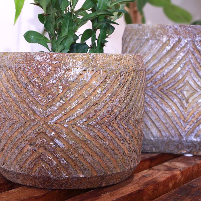 LAW 鉢カバー Mサイズ オレンジ セメント ラウンド型  鉢カバー 観葉植物03