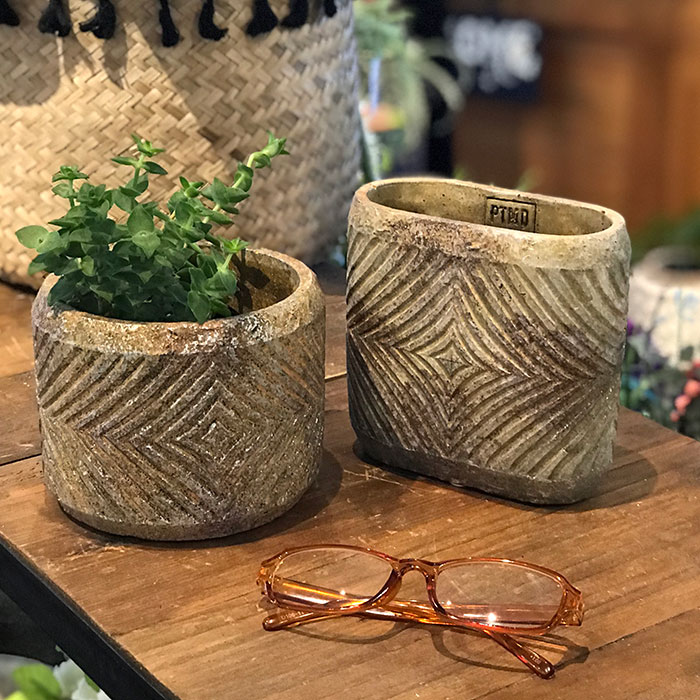 LAW 鉢カバー Mサイズ オレンジ セメント ラウンド型  鉢カバー 観葉植物07