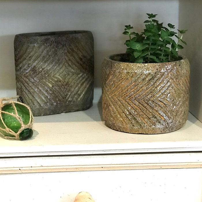 LAW 鉢カバー Mサイズ オレンジ セメント ラウンド型  鉢カバー 観葉植物08