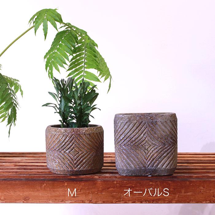 LAW 鉢カバー Sサイズ オーバル型 セメント オレンジ  鉢カバー 観葉植物01
