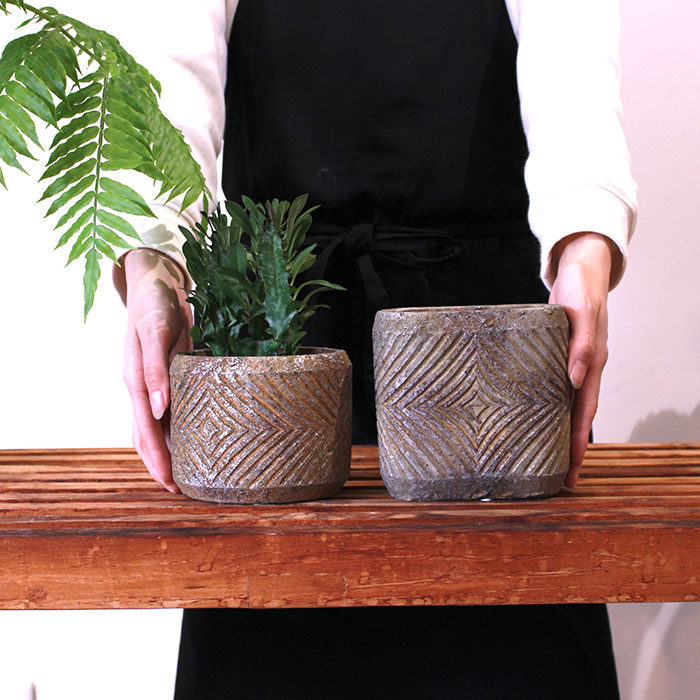 LAW 鉢カバー Sサイズ オーバル型 セメント オレンジ  鉢カバー 観葉植物02