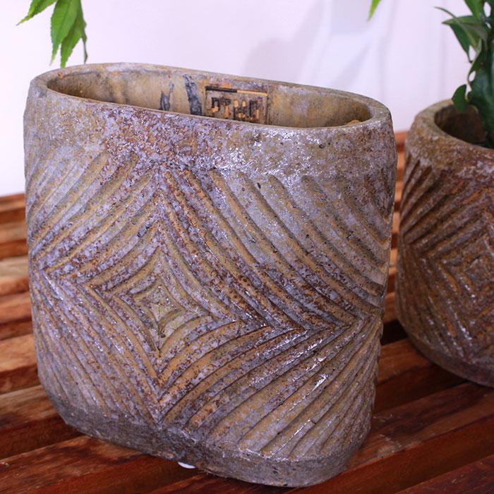 LAW 鉢カバー Sサイズ オーバル型 セメント オレンジ  鉢カバー 観葉植物03
