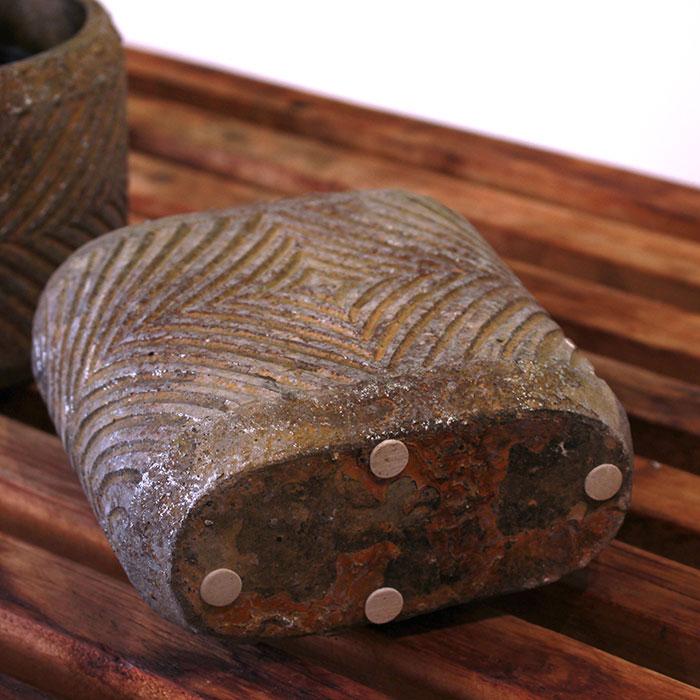 LAW 鉢カバー Sサイズ オーバル型 セメント オレンジ  鉢カバー 観葉植物06